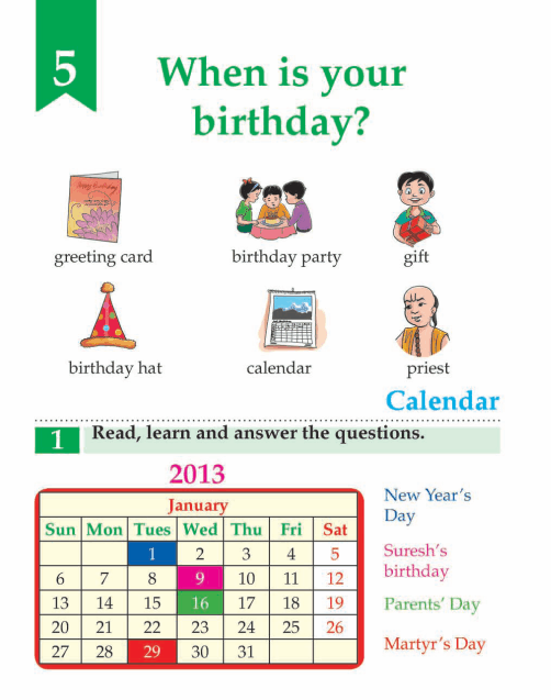 English Lesson Grade 3  When Is Your Birthday?
